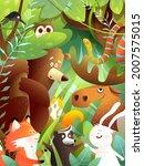woodland animals friends in... | Shutterstock .eps vector #2007575015