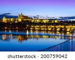 Prague Castle And Bridge At...