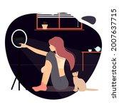 flat girl character sitting in...   Shutterstock .eps vector #2007637715