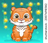 cute cartoon tiger cub with...   Shutterstock .eps vector #2007698582