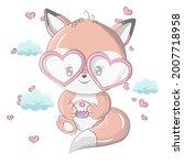 fox in a funny cartoon style.... | Shutterstock .eps vector #2007718958