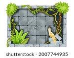 stone jungle game frame  vector ... | Shutterstock .eps vector #2007744935