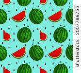 vector watermelon background...   Shutterstock .eps vector #2007786755