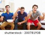 group of men sitting on sofa... | Shutterstock . vector #200781938