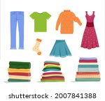 tidy clean clothes folded in... | Shutterstock .eps vector #2007841388