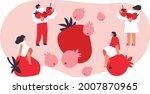 tiny people and berries cartoon ... | Shutterstock .eps vector #2007870965