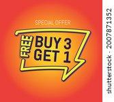 3d render of buy 3 get 1 in... | Shutterstock .eps vector #2007871352