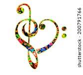 music heart  bass   treble clef | Shutterstock . vector #200791766