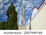 Scenic Church of St. Nikolaos in Emborios (Imborios) on the greek Island of Chalki (Halki), 9 km North of Rhodes