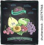 chalk healthy food fruit menu ... | Shutterstock .eps vector #200797466