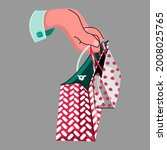 hand holding two shopping bags...   Shutterstock .eps vector #2008025765