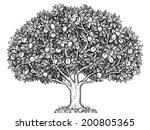 engraved apple tree full of... | Shutterstock .eps vector #200805365