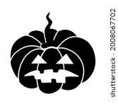 black pumpkin . jack o lantern. ... | Shutterstock .eps vector #2008067702