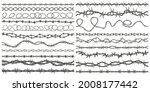 razor wire silhouettes. barbed... | Shutterstock .eps vector #2008177442