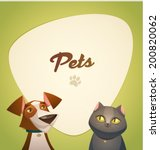 Stock vector pets background cartoon styled vector illustration 200820062