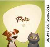 Stock vector pets background cartoon styled vector illustration 200820062