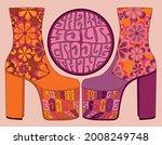 70s retro disco platform shoes...   Shutterstock .eps vector #2008249748
