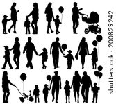black set of silhouettes of... | Shutterstock .eps vector #200829242