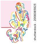 veterinary and cat. female... | Shutterstock .eps vector #2008385825