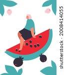 tiny man and fruits cartoon... | Shutterstock .eps vector #2008414055