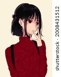 anime girl with black hair and...   Shutterstock .eps vector #2008431512