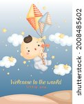 a cute vector of baby boy with... | Shutterstock .eps vector #2008485602