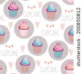 beautiful yummy cupcake...   Shutterstock .eps vector #200850812