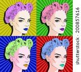 pop art  four faces | Shutterstock .eps vector #200857616