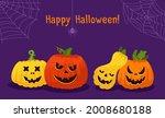 happy halloween card  pumpkin... | Shutterstock .eps vector #2008680188