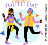 international youth day. august ... | Shutterstock .eps vector #2008746008