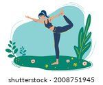 girl does yoga in nature  in... | Shutterstock .eps vector #2008751945
