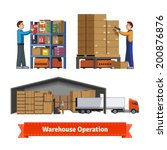 Human and robotic warehouse operations. Warehouse workers. Flat icon illustrations set. EPS 10 vector.