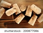 desk and corks of wine  | Shutterstock . vector #200877086