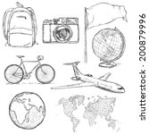 vector set of travel sketch... | Shutterstock .eps vector #200879996