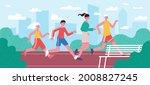 running family. jogging dad ... | Shutterstock .eps vector #2008827245