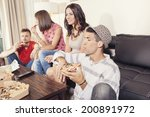 two couples having fun eating... | Shutterstock . vector #200891972