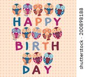 happy birthday card  cute owls.... | Shutterstock .eps vector #200898188