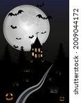 halloween night haunted house... | Shutterstock .eps vector #2009044172