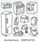 Cartoon hand-drawn household appliances for cooking and cleaning. Electric teapot, stove, washing machine, microwave, multi cooker, blender, mixer, food processor, frige, flatiron. Vector images set.