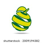 peeled lime fruit with a leaf.... | Shutterstock .eps vector #2009194382