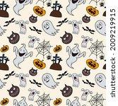 hand drawn halloween seamless...   Shutterstock .eps vector #2009219915