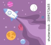 rocket flying in space with...   Shutterstock .eps vector #2009272655