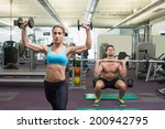 muscular man and woman lifting... | Shutterstock . vector #200942795