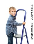boy is standing on ladder.... | Shutterstock . vector #200955518
