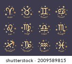 set of 12 zodiac signs with... | Shutterstock .eps vector #2009589815