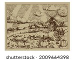 rural landscape with windmill.  ...   Shutterstock .eps vector #2009664398