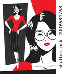 glamour woman in glasses fashion | Shutterstock .eps vector #2009684768