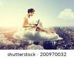 woman working o a cloud above... | Shutterstock . vector #200970032