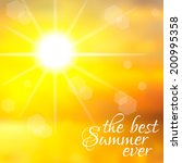 yellow sky with summer sun... | Shutterstock .eps vector #200995358