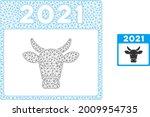 mesh 2021 bull calendar model... | Shutterstock .eps vector #2009954735